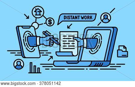 Online Distant Work Banner. Outline Illustration Of Online Distant Work Vector Banner For Web Design