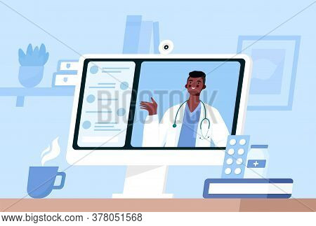Online Medical Consultation, Support. Online Doctor. Healthcare Services. Family Male Doctor With St