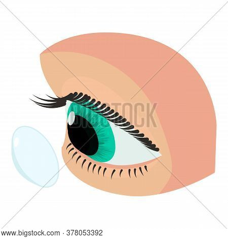 Eye Contact Lens Icon. Isometric Of Eye Contact Lens Vector Icon For Web Design Isolated On White Ba