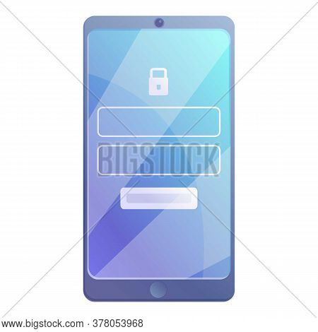 Smartphone Digital Protect Form Icon. Cartoon Of Smartphone Digital Protect Form Vector Icon For Web