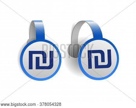 Israeli Shekel Symbol On Blue Advertising Wobblers.