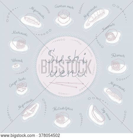 Cover With Lettering And Contour Sushi Menu With Japanese Sushi, Wasabi, Sauce, Chopsticks On A Blue