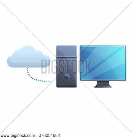 Computer Desktop Cloud Access Icon. Cartoon Of Computer Desktop Cloud Access Vector Icon For Web Des
