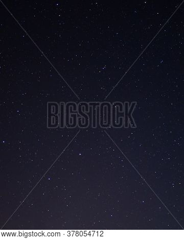 Night Starry Sky Of The Northern Hemisphere. Various Cosmic Bodies And Constellations. The Stars Are