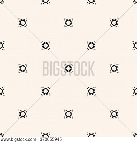 Vector Minimalist Background. Subtle Geometric Seamless Pattern With Tiny Floral Shapes, Crosses. Si