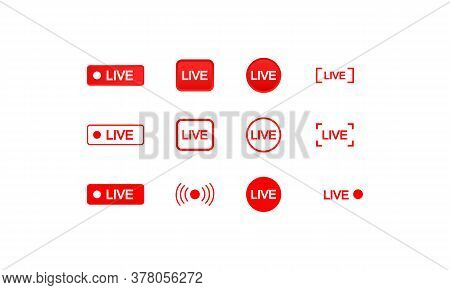 Set Of Live Streaming Icons. Buttons Of Broadcasting, Online Stream. Video. Vector On Isolated White