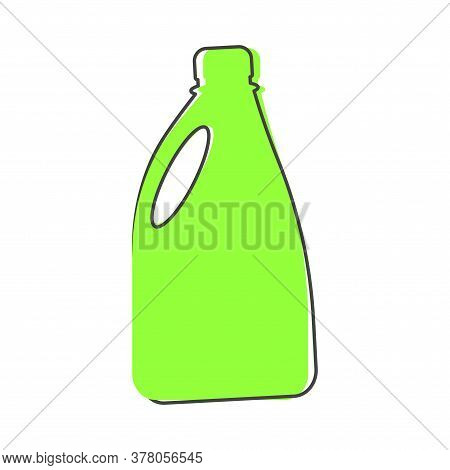 Bottle With Chemical Substance Vector Icon. Bottle With Detergent, Bleach Cartoon Style On White Iso