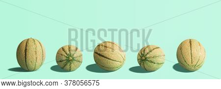 Cantaloupe Melons Collection, Creative Layout, Isolated On A Mint Green Seamless Background. Melons