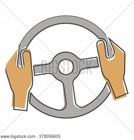 Vector Icon Of Car Steering Wheel And Drivers Hands Cartoon Style On White Isolated Background.