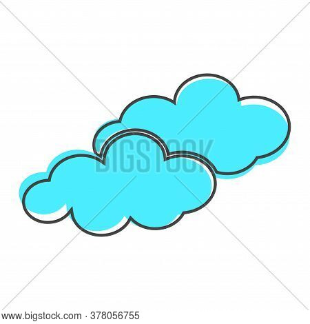 Clouds Vector Icon. A Symbol Of The Sky Cartoon Style On White Isolated Background.