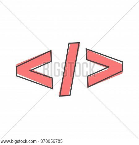 Computer Code Slash Vector Icon. Symbol Of Programming, Webdesign Cartoon Style On White Isolated Ba
