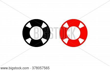 Lifebuoy Beach Icon In Black And Red. Lifeguard Sign. Vector On Isolated White Background. Eps 10