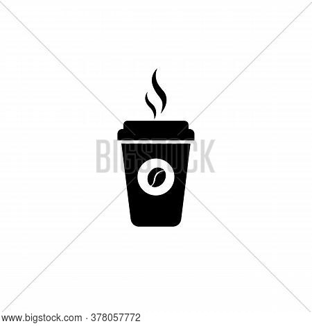 Hot Coffe Cup Icon. Disposable Coffee Cup Icon With Beans Logo. Paper Mug. Vector On Isolated White