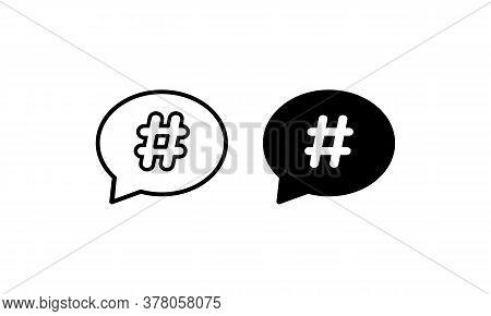 Hashtag Icon Set. Vector On Isolated White Background. Eps 10