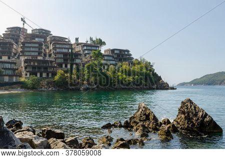 Budva, Montenegro - Circa September, 2011: Unfinished Hotels Construcion Site At Budva, Montenegro