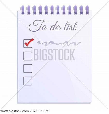 To Do List Notebook Icon. Cartoon Of To Do List Notebook Vector Icon For Web Design Isolated On Whit