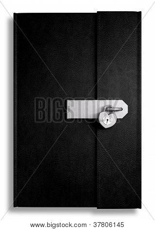 Little Black Leather Locked Diary