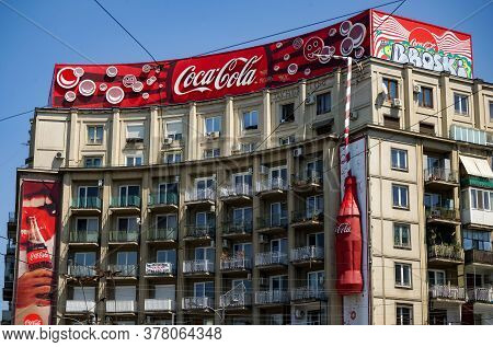 Bucharest, Romania -  June 28, 2020: A Very Large Logo Of Coca-cola Soft Drink Manufacturer Is Displ