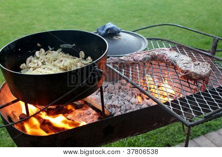 Braai With Meat And A Cast Iron Pot