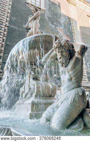 Fountain of the Amenano River in Catania, Sicily island, Italy