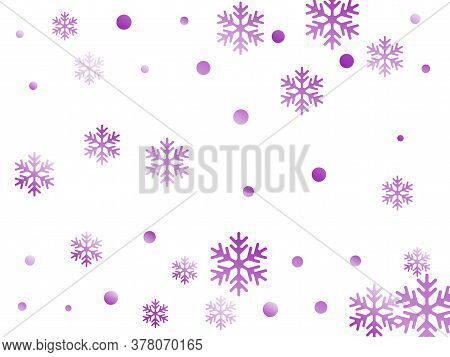 Crystal Snowflake And Circle Elements Vector Design. Unusual Winter Snow Confetti Scatter Poster Bac