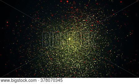 Random Small Particles. 3d Rendering Of Gold Dust. Computer Generated Backdrop