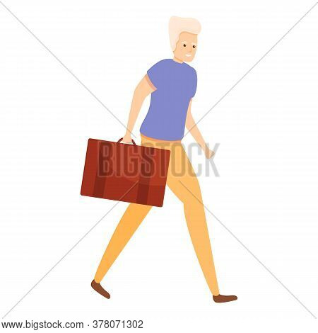 Walking Old Man Icon. Cartoon Of Walking Old Man Vector Icon For Web Design Isolated On White Backgr