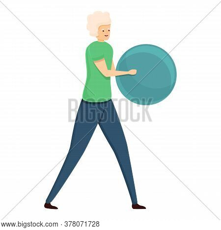 Senior Woman With Ball Icon. Cartoon Of Senior Woman With Ball Vector Icon For Web Design Isolated O