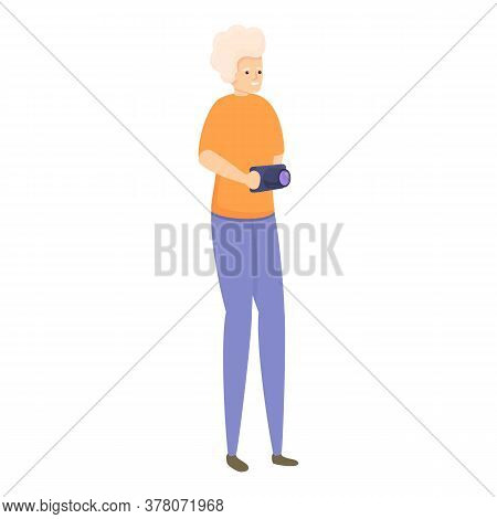 Camera Senior Woman Icon. Cartoon Of Camera Senior Woman Vector Icon For Web Design Isolated On Whit