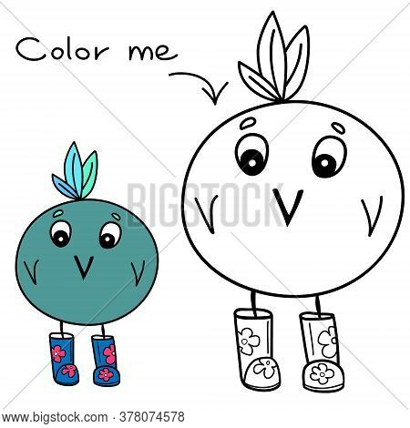 Color Me Drawing, Coloring Page With Funny Simple Illustration And Colorful Example Of A Cute Bird W