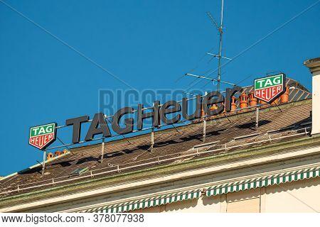 Tag Heuer Logo In Geneva In Switzerland - City Of Geneva, Switzerland - July 8, 2020