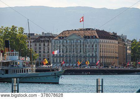 City Center Of Geneva In Switzerland - City Of Geneva, Switzerland - July 8, 2020