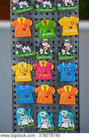 Souvenir Magnets In Geneva In Switzerland - City Of Geneva, Switzerland - July 8, 2020
