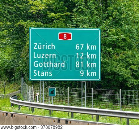 Freeway Signs In Zurich - Zurich, Switzerland - July 15, 2020