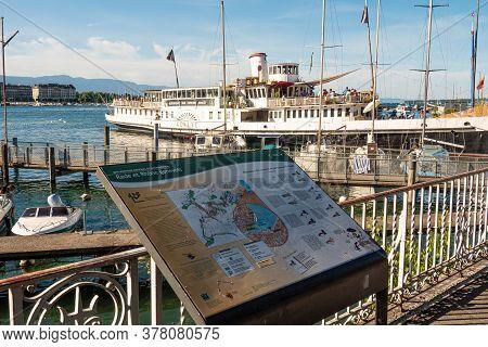 Map Of Lake Geneva Lakefront In Geneva In Switzerland - City Of Geneva, Switzerland - July 8, 2020