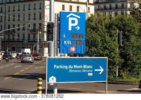 Parking Garage In Geneva In Switzerland - City Of Geneva, Switzerland - July 8, 2020