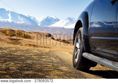Off-road Travel On Mountain. Freedom Car Travel Concept. Auto Travel In Autumn.