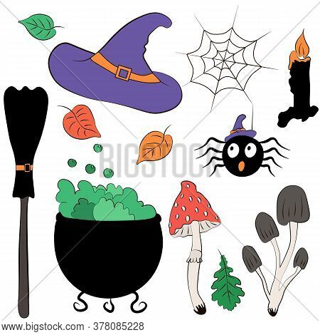 Cute Vector Set Illustrations Halloween. Witch Attributes: Potion Pot, Hat, Broom, Candle Stub, Spid