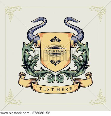 A Bull Horn Heraldic Emblem Animal Concept Vector Illustration