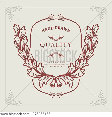 Classy Design Hand Drawn Illustration Style Botani Vector Frame For You Business