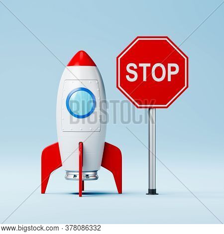 Red And White Cartoon Spaceship And Red Stop Road Sign On Blue Background 3d Illustration