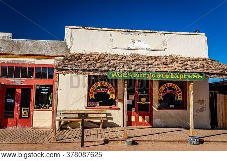 Tombstone, Arizona, Usa - March 2, 2019: Morning View Of Doc Hollidays Saloon On Allen Street In The