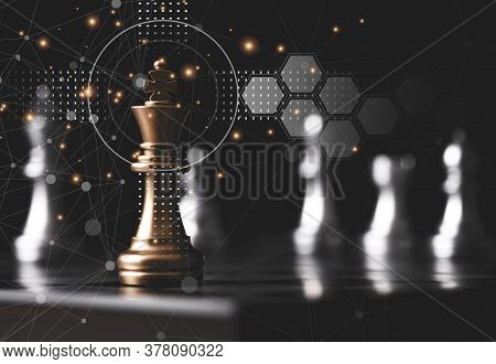 Golden King Chess Stand In Front Of Others Chess Pieces. Leadership Business Teamwork And Marketing
