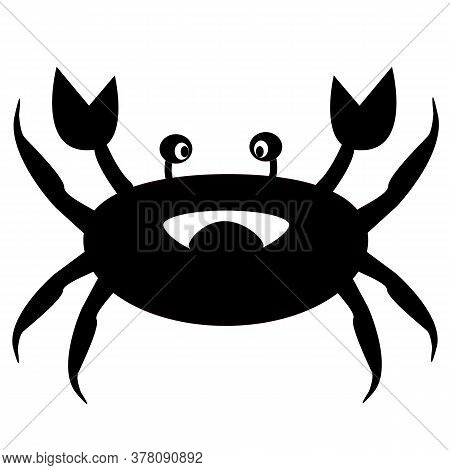 Crab Silhouette Sign. Crab Icon On White Background. Crab Logo.