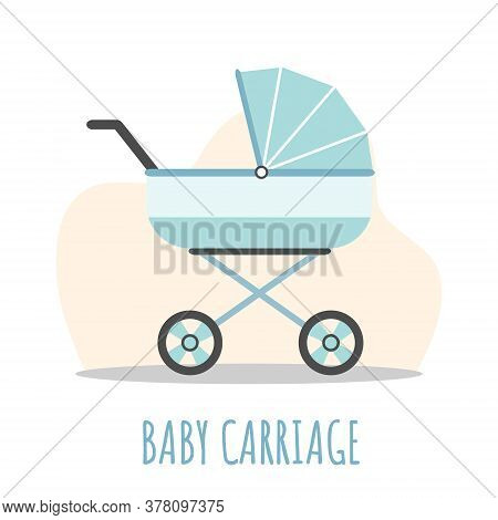 Baby Carriage Icon. Blue Pram On White Background. Vector Illustrations In Flat Style.
