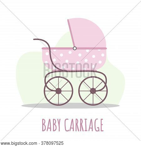 Baby Carriage Icon. Pink Pram On White Background. Vector Illustrations In Flat Style.