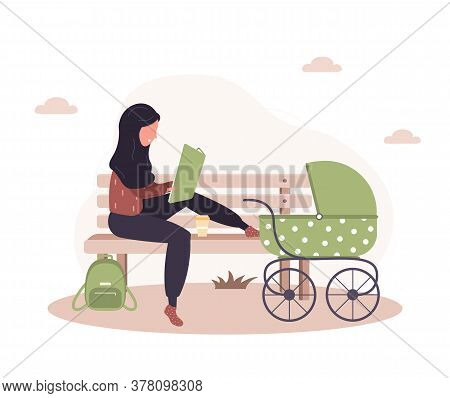 Young Arab Woman Walking With Her Newborn Child In An Green Pram. Girl Sitting With A Stroller And A