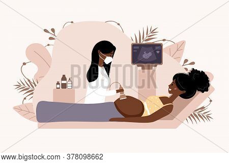 Ultrasound Pregnancy Screening Concept. Female Doctor In Medical Uniform Scanning Mother. African Gi
