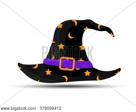 Black Witch And Wizards Hat With Belt And Stars. Halloween Costume. Vector Illustration In Flat Styl