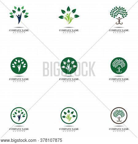 Tree Human Logo Design. Human Life Logo Icon